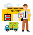 delivery logistics center flat style vector image vector image