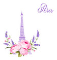 eiffel tower with lavender flowers isolated over vector image vector image