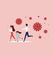 family people run away from flying coronavirus vector image vector image