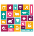 food icon set in flat style vector image