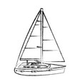 grunge sailing boat style transport sea vector image vector image