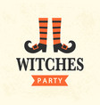 halloween witches party emblem template vector image