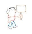 hand-drawn cartoon of man walking holding blank vector image