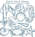 Hand Drawn Sealife Set vector image vector image