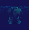 hand holding with globe futuristic technology vector image