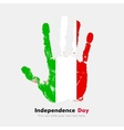 Handprint with the Flag of Italy in grunge style vector image vector image
