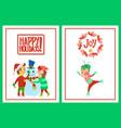 happy holidays postcards children building snowman vector image vector image