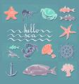 hello sea card with handwritten text sea vector image vector image
