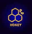 honey neon label vector image vector image