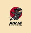 jumping ninja mascot cartoon logo icon vector image vector image