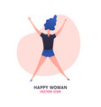 jumping woman icon vector image vector image