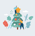 man and woman decorated tree vector image
