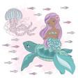 mermaid on turtle underwater princess vector image vector image