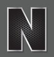 Metal grid font - letter N vector image