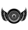 monochrome pattern - car wheel with wings vector image