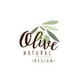 olives hand drawn on a branch logo on a white vector image