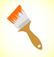 Orange paint brush on yellow smooth background vector image vector image