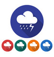 round icon of thunderstorm flat style with long vector image vector image
