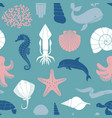 seamless background on theme sea and vector image vector image