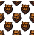 Seamless pattern of brown bear head trophies vector image