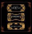 set frame badge art nouveau decorative design vector image