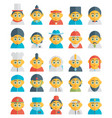 set of cute character avatar icons in flat design vector image vector image