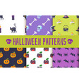 set of halloween patterns vector image