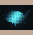 striped map of usa united states of america blue vector image vector image