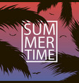 summer time - card with palm trees leaf gull vector image vector image
