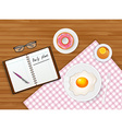 Tasty breakfast with tea and egg vector image vector image