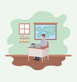 teacher in the geography class vector image vector image