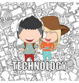teenage girl and boy wearing hat playing with vector image vector image
