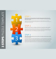 three steps puzzle template vector image vector image