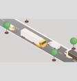 trucks and vans on highway isometric vector image vector image