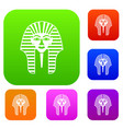 tutankhamen mask set color collection vector image vector image