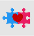 two pieces puzzle of romantic heart wedding vector image vector image