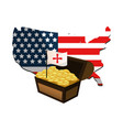 usa flag map and chest with gold coins vector image
