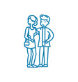 walking lovers linear icon concept walking lovers vector image