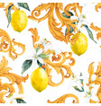 watercolor lemon seamless pattern vector image vector image