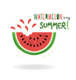watermelon is my summer card on white background vector image vector image