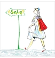 Woman And Shopping vector image