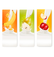 Three fruit and milk banners vector image