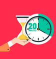 20 twenty minutes timer sand clock - hourglass vector image vector image