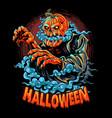 a halloween zombie with pumpkin head vector image vector image
