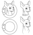 a set drawing chihuahua in collar vector image vector image