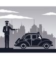antique cab car driver service public pictograh vector image vector image
