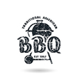 Barbecue emblem with shabby texture vector image vector image