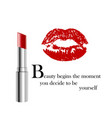 beauty poster with metallic lipstick and imprint vector image