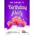 Birthday party poster Sky clouds happy balloons