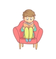 Boy Reading A Book In The Armchair vector image vector image